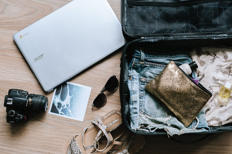 Woman's open suitcase